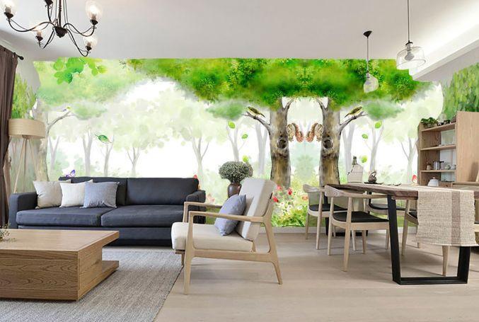 3D Fuzzy weißen Wald 2566 Fototapeten Wandbild Fototapete BildTapete Familie