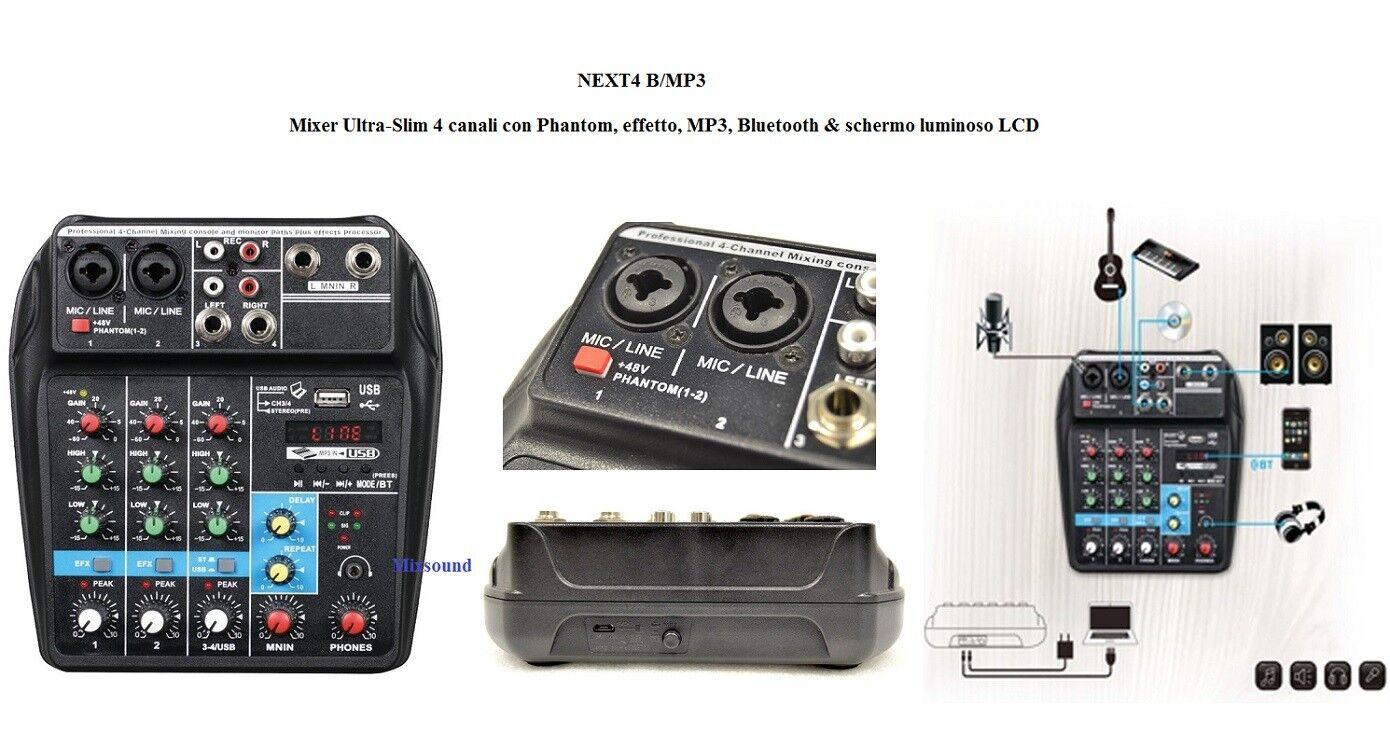 economico e di alta qualità TECHNOSOUND NEXT4 B MP3 Mixer 4 canali + Phantom Phantom Phantom Effetto blutooth +Ingresso USB  negozi al dettaglio