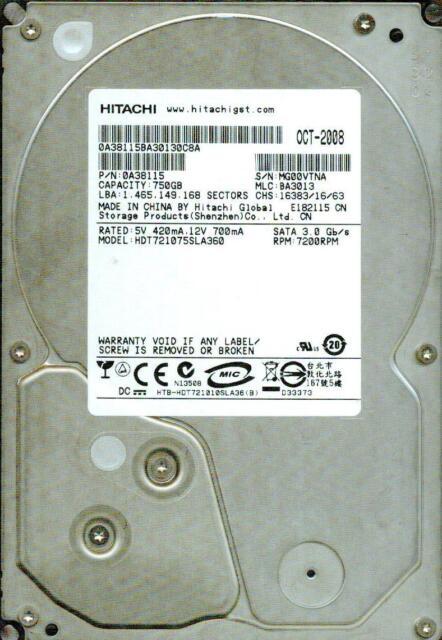 HDT721075SLA360 P/N:0A38115  MLC: BA3013   HITACHI SATA 750GB