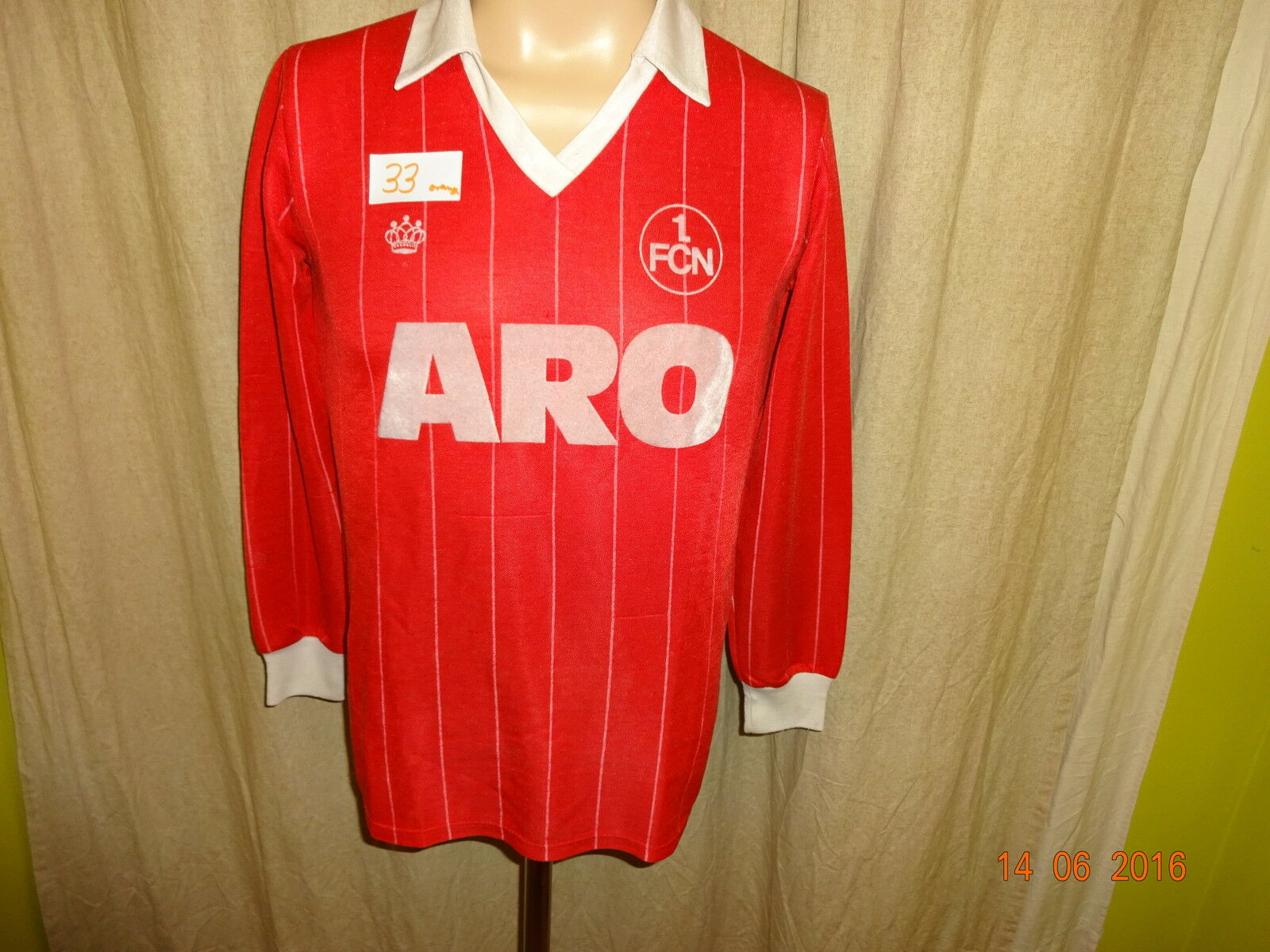 1.FC Nürnberg Original 1.FCN Fan Shop Langarm Trikot 1982 83  ARO  Gr.S TOP  | Feinbearbeitung