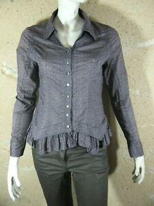 ET-COMPAGNIE-Taille-42-Superbe-chemise-manches-longues-marron-beige-femme-blouse