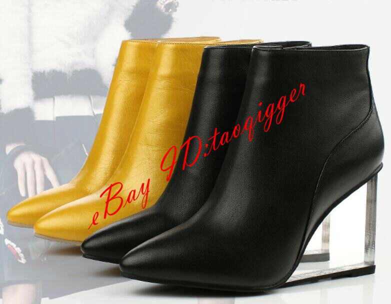 femmes Clear Wedge Heel Bottines bottes Pointed Toe Zip Fête chaussures Pull On Escarpins New