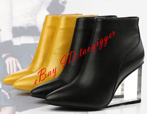 Women/'s Pumps Clear Wedge High Heel Pointy Toes Zip Party Fashion Ankle Boots Sz