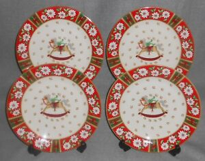 Image is loading Set-4-Kobe-CHARLTON-HALL-PATTERN-Salad-Plates- & Set (4) Kobe CHARLTON HALL PATTERN Salad Plates HOLIDAY/CHRISTMAS ...