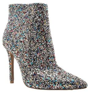 Milia-109 Pointed Pointy Toe Ankle High Stiletto Heel Glitter Boot Bootie Silver Silver