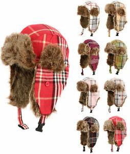 Winter Faux Fur Plaid Trapper Hat Aviator Ski Warm Hunting Hat Ear Flaps