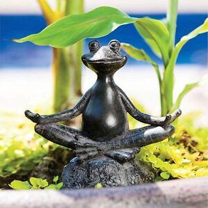 Image Is Loading Sitting Yoga Frog Statue Garden Sculpture Decor Meditation