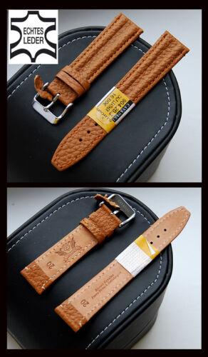 Echtes Bison Leder-Uhrenarmband CAVADINI, Stahlschliesse, Doppelwulst, hellbraun