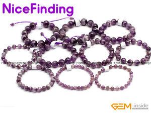 Natural Purple Dream Lace Amethyst Gemstone Healing Bracelet Stretch Jewelry 7.5