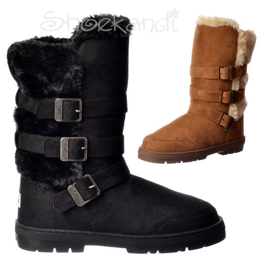 Womens Girls Ella Buckles Straps Flat Fur Lined Winter Boot Chestnut Brown Black