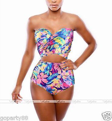 Laides Plus Size High Waist Bikini Set Push up Print Beach Swimwear Bathing Suit