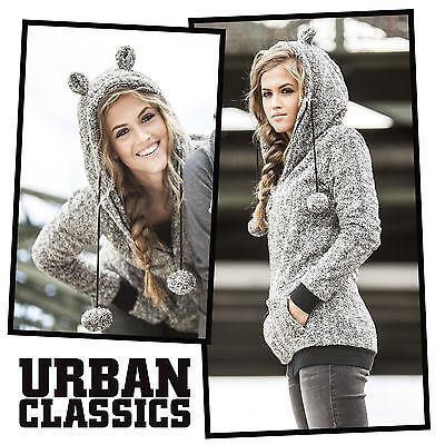 Urban Classics™ Damen Teddy Melange Zip Hoodie mit Ohren Hoody Jacke Ladies NEW
