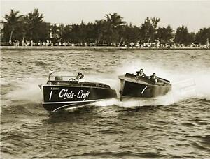 VINTAGE-ANTIQUE-ERA-CHRIS-CRAFT-PHOTO-REPRODUCTION-CANVAS-SPEED-BOAT-ART-PRINT