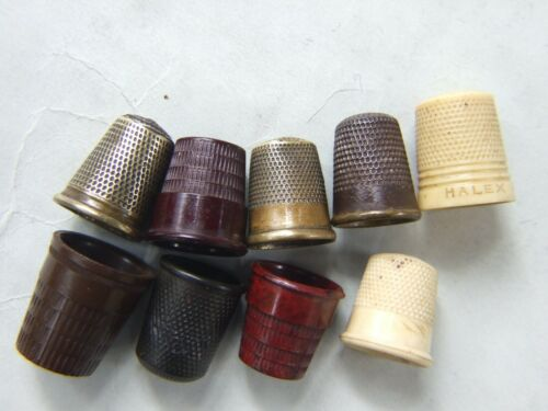 9 Vintage Thimble Collection Brass, Bakelite .Metal Art Deco Sewing Collectable