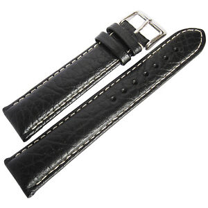 17mm-deBeer-Mens-Black-Sport-Leather-Contrast-Stitched-Watch-Band-Strap