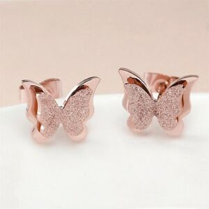 21a3d8529 Image is loading Rose-Gold-butterfly-earrings-studs