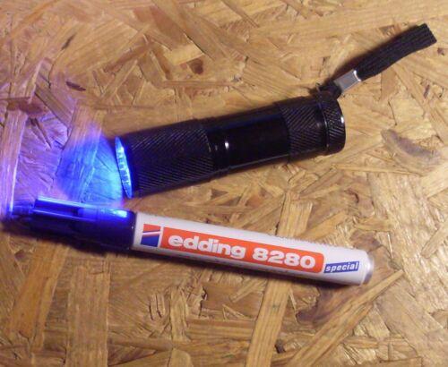 Geocaching outils LED uv lampe de poche 9 LED + spécial uv Edding 8280 (Bundle)