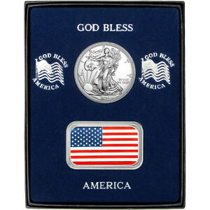 Enameled-American-Flag-1oz-Silver-Bar-amp-Silver-Eagle-BU-Gift-Set-by-SilverTowne