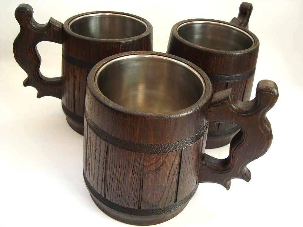 3 Wood Beer mugs (0,65L 22oz), oak wood, beer tankard