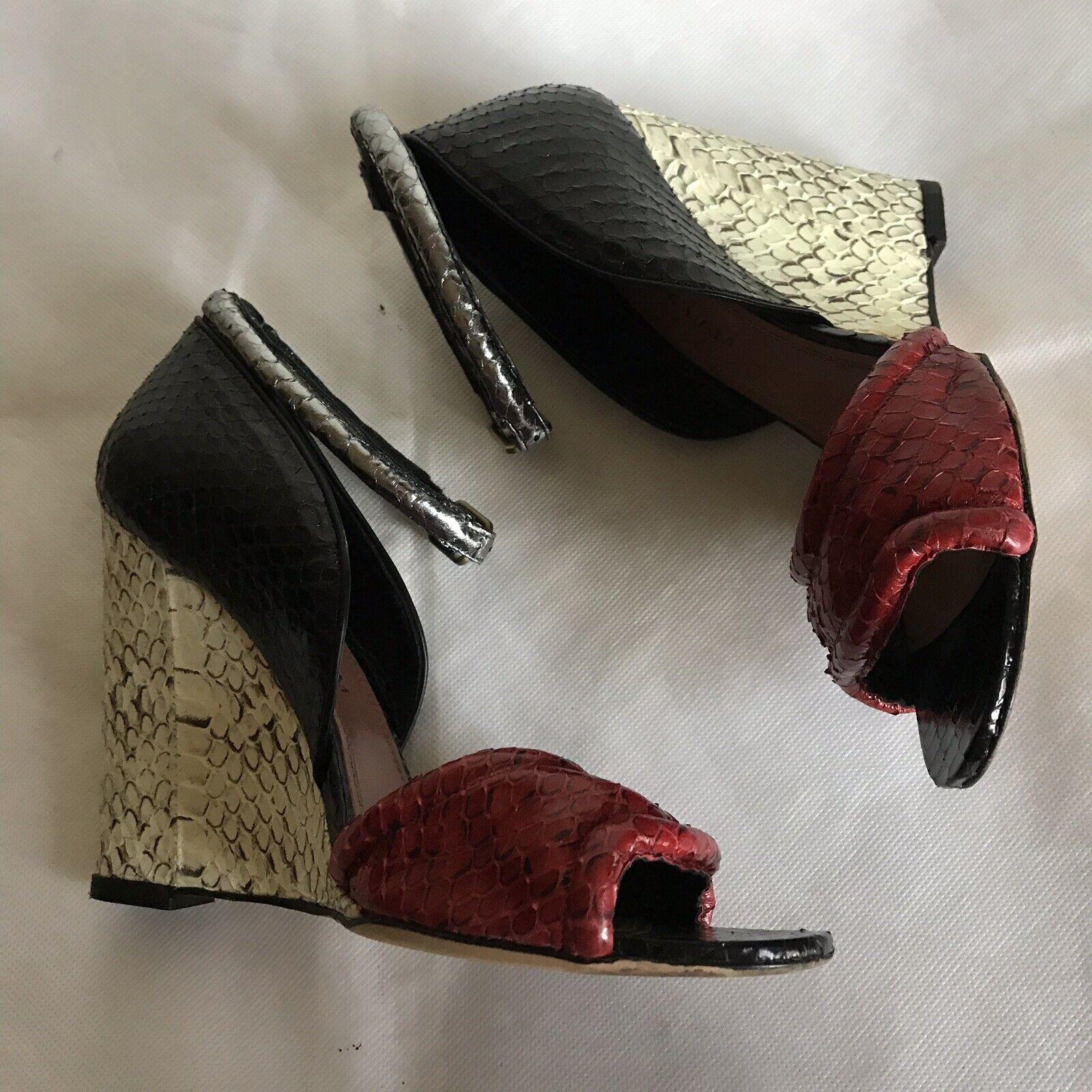 DEREK LAM Womens Open Toe Ankle Strap Wedges Pumps Python Leather Sz 37