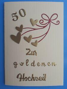 Details Zu 50 Goldene Hochzeit Glückwunschkarte Einladung Danke Grußkarte Handarbeit