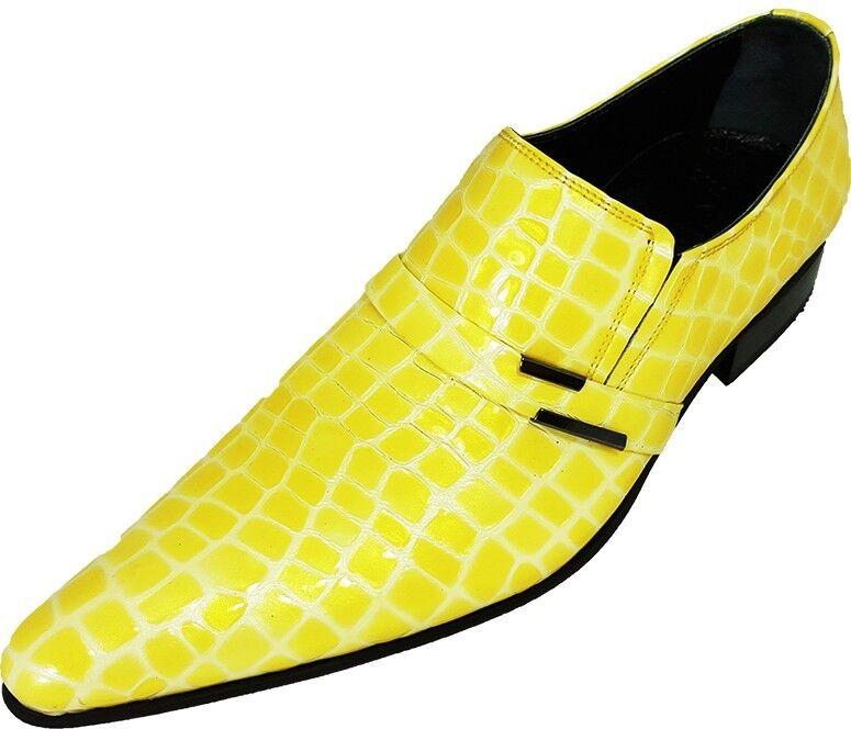 ORIGINALE Chelsy-Designer Italiano Festa Slipper Mais Pistone imitazioni GIALLO 40 Scarpe classiche da uomo