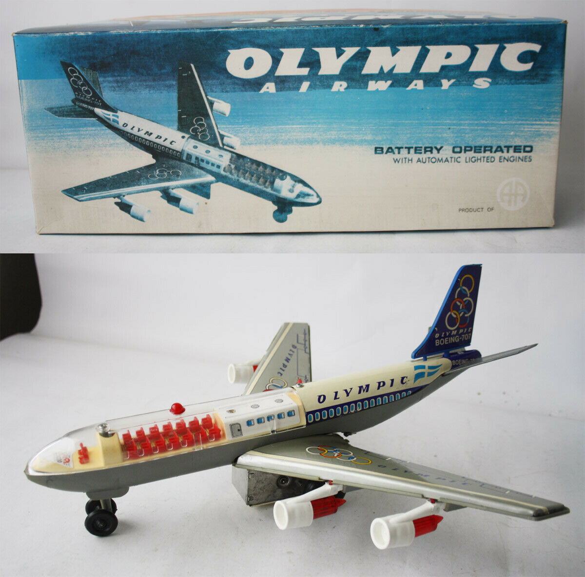 VINTAGE 70'S OLYMPIC AIRWAYS BOEING 707 TIN AIRPLANE ANANIADES GREECE GREEK NEW