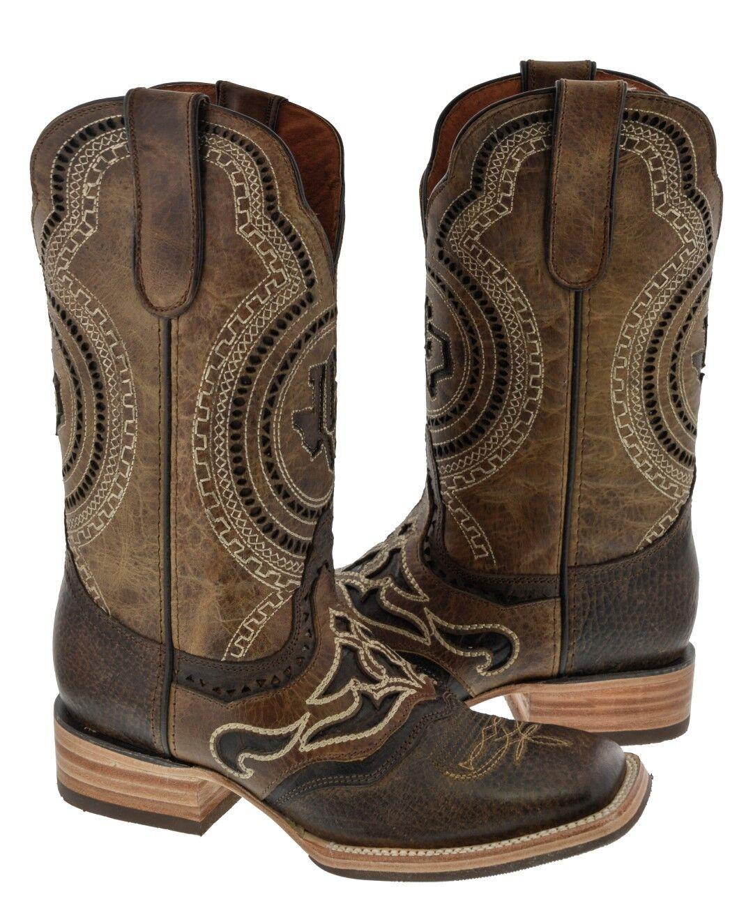Para hombres Cuero Cosido superposición de Rodeo marrón claro botas De Vaquero Duradero Cuadrado