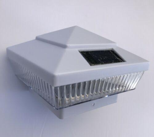"With 4/"" universal base - For 4/""x4/"" PVC/&Wood Post 12-Pk Solar White Cap Light"