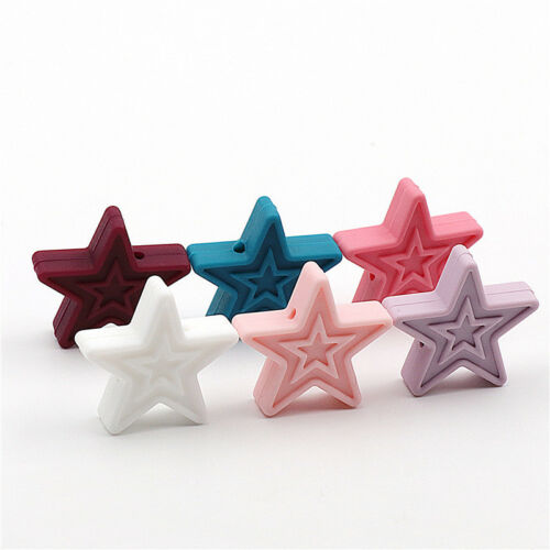 50Pcs 3D Star Silicone Teething Beads Baby Teething Pacifier Chew Jewelry Making