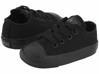 Converse Chuck Taylor Ox Top Black Mono Infant Toddler Boys Girls Shoes Sizes