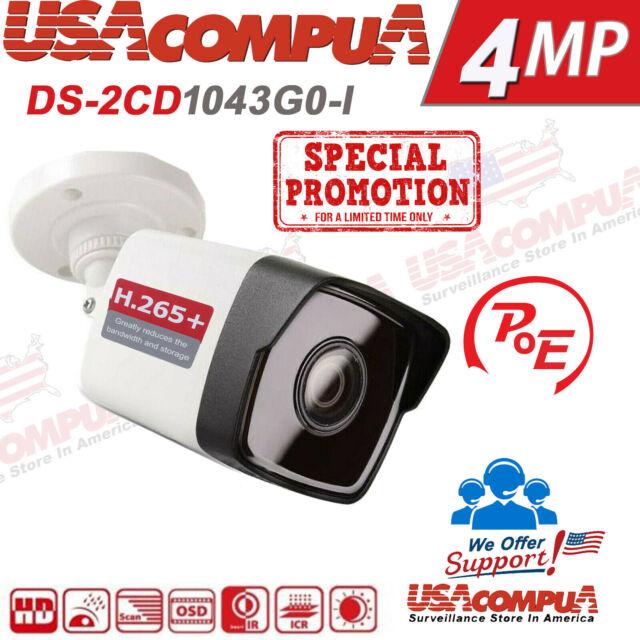 Hikvision 4MP POE IP Camera DS-2CD1043G0-I WDR BULLET H 265+ 2 8MM ORIGINAL