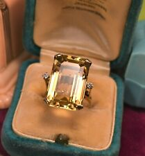 Estate vintage 14k gold diamond big emerald cut 22.5ct golden citrine ring sz 6