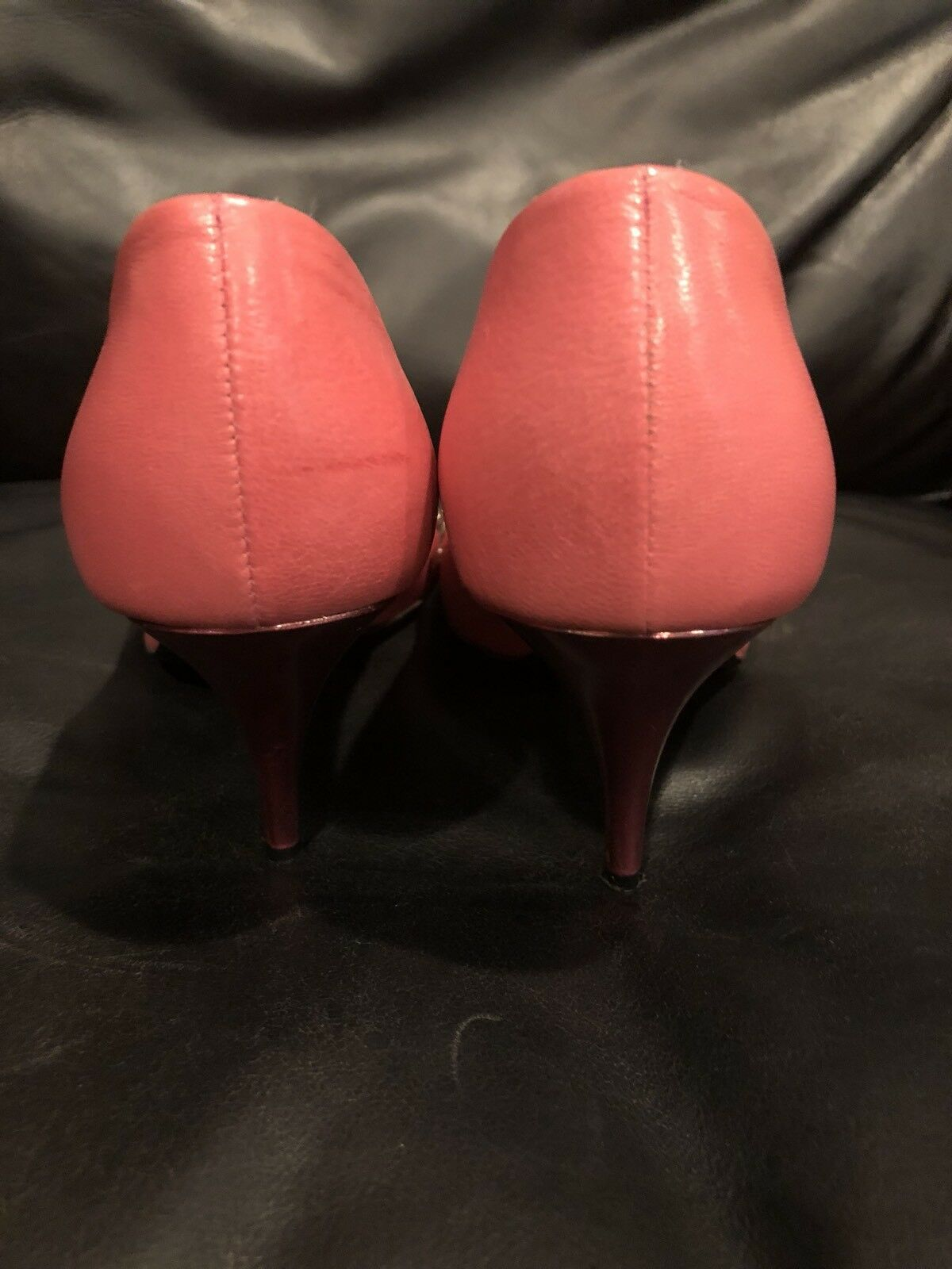 Marc Marc Marc Jacobs Pink Leather Peep Toe Jeweled Heels- Size 7M 91d032