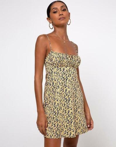 MOTEL ROCKS Mala Slip Dress in Mini Bloom Yellow  L Large mr95