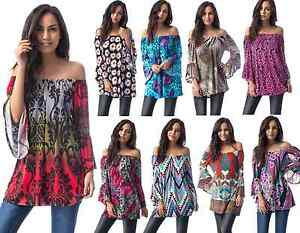 Womens-Off-The-Shoulder-Floral-Bardot-Boho-Bell-Sleeve-Party-Tunic-Top-12-16