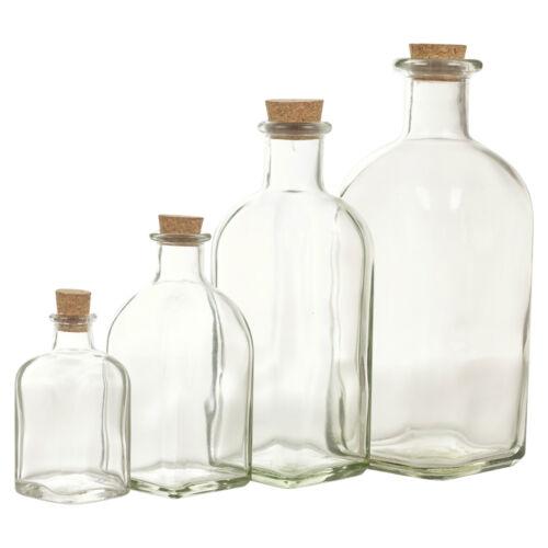3 6 9 12 Glass Bottle Jars Vials Cork Lid Stopper Kitchen Food Storage Cruet Set