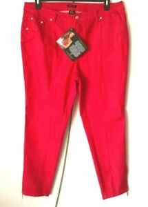 IMAN-Womens-Global-Chic-Red-Slim-Skinny-Jean-with-Ankle-Zipper-Size-16W-NWT