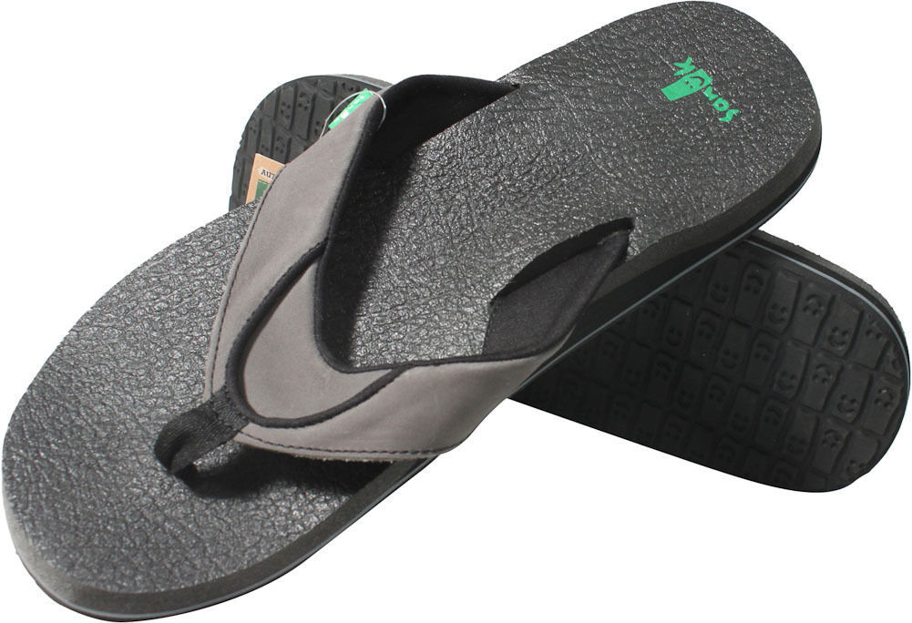 NEW Sanuk SANDALS FLIP FLOPS SHOES 8.5 9 42 Mens Leather Beer Cozy Primo Soot