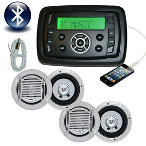 Marine Stereo Boat MP3/AM/FM/USB/<wbr/>Ipod Bluetooth Player + 4 x Speakers Complete