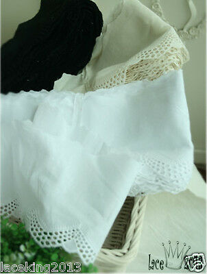 "Embroidered Broderie Anglaise cotton lace trim 4.1"" white YH1415 laceking2013"