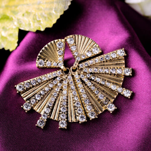 DESTOCKAGE Boucles d`Oreilles Doré Art Deco Fan Cristal Metal Original A12