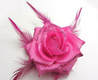 1X Rose Flower Feather Prom Wrist Corsage Hair Clip Fascinator Pin Brooch Rose