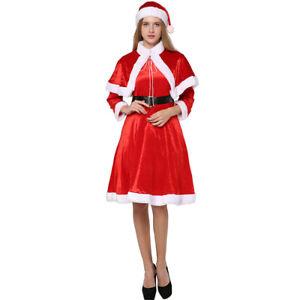 Adult-Women-039-s-Cosplay-Party-Mrs-Santa-Claus-Costume-Miss-Fancy-Dress-Belt-Hat