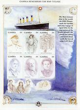 Gambia 1998 MNH RMS Titanic 6v M/S Captain Edward Smith Molly Brown
