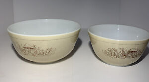 Vintage Pyrex Forest Fancies Mixing Bowls Tan Speckle Mushrooms 8-3/4 and 7-3/4