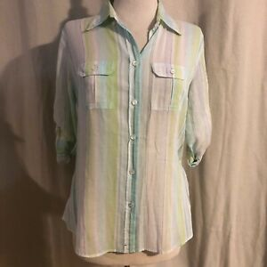J-Crew-Lime-Green-amp-Aqua-Striped-Roll-Tab-Sleeve-Button-Front-Top-Medium