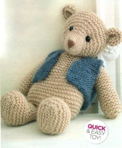 Chunky Wool Knitting Pattern Easy Beginner Garter Stitch Toy Teddy Bear 35cm