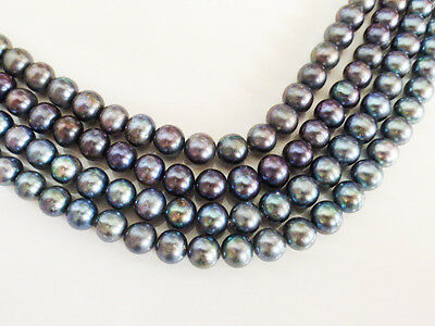 """Peacock Purple/Green Freshwater Potato Pearls 8mm 15"""" Strand (approx 48 pearls)"""