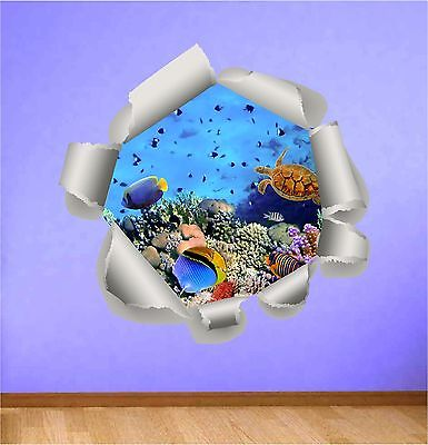 aquarium Decal ocean under water Fish Beach Sea wall sticker vinyl mural new W98